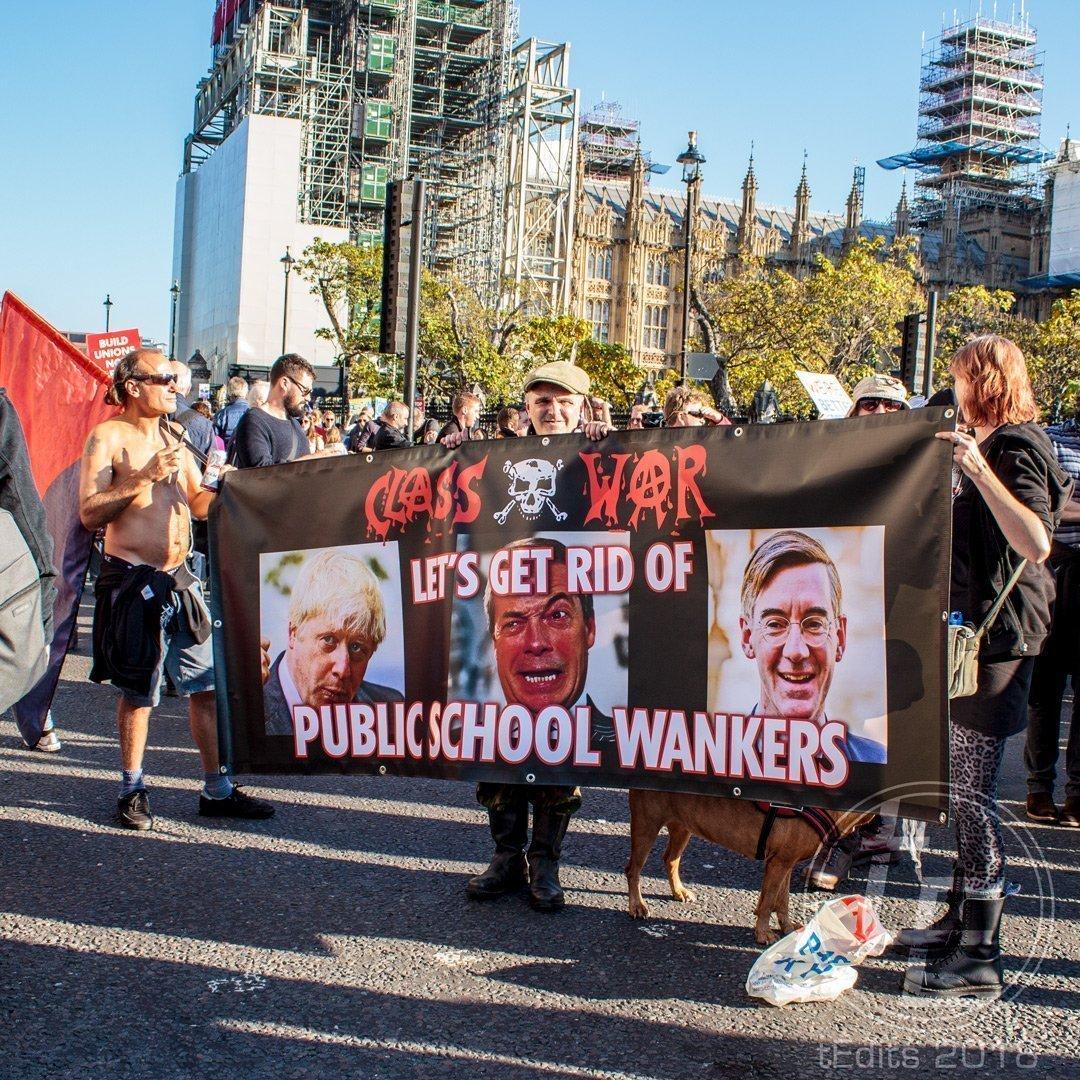 2018 People's Vote March - Class War, Public School Wankers