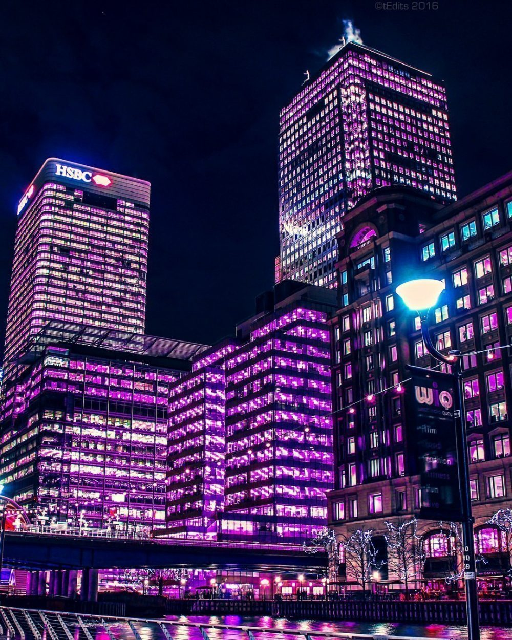 West India Quay, Canary Wharf Neon Purple