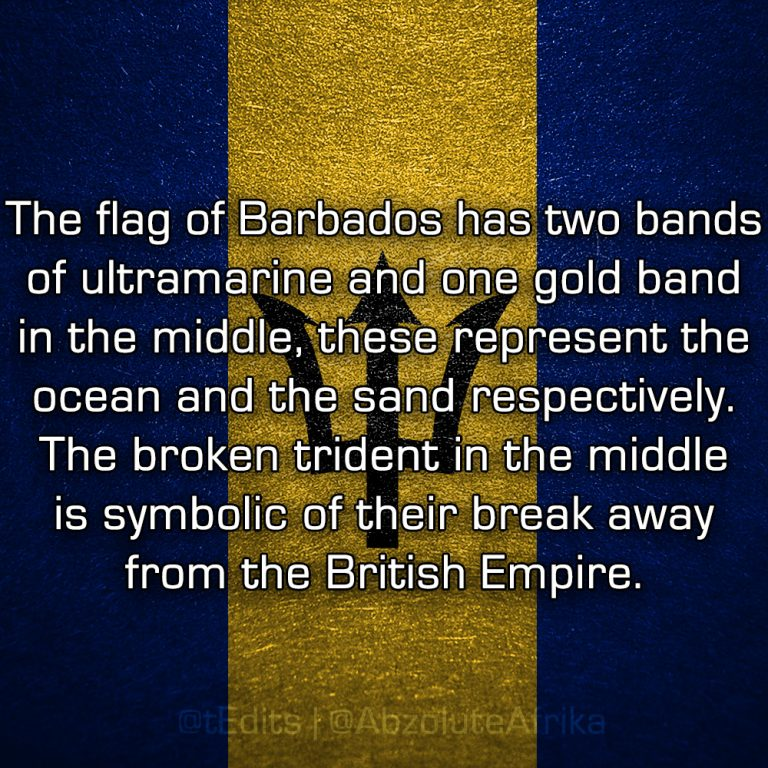 The flag of Barbados has two bands of ultramarine and one gold band in the middle, these represent the ocean and the sand respectively. The broken trident in the middle is symbolic of their break away from the British Empire.