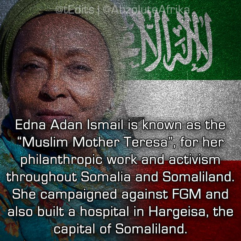 """Edna Adan Ismail is known as the """"Muslim Mother Teresa"""", for her philanthropic work and activism throughout Somalia and Somaliland. She campaigned against FGM and also built a hospital in Hargeisa, the capital of Somaliland."""