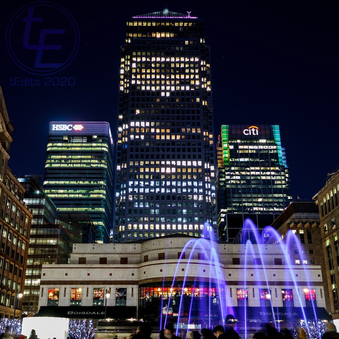 Canary Wharf Winter Lights 2020 - Liquid Sound Cabot Square