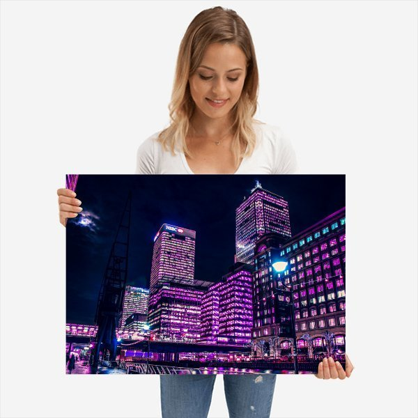 Canary Wharf | Neon London | Metal Poster