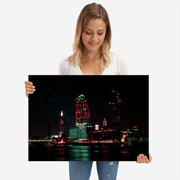 South of The River Thames | Neon London | Metal Poster