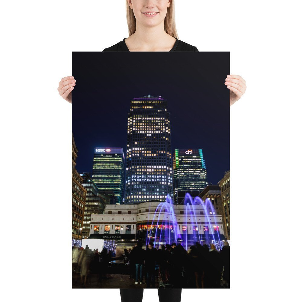 Liquid Sound, Cabot Square, by Entertainment Effects UK   Canary Wharf Winter Lights 2020   Poster