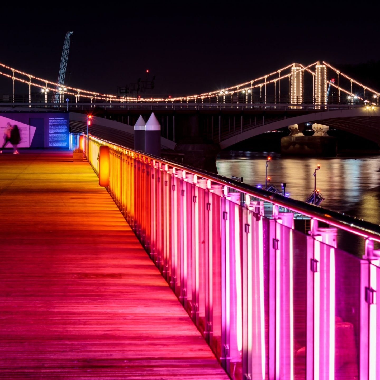 Battersea Power Station Light Festival - Eternal Sundown and Chelsea Bridge